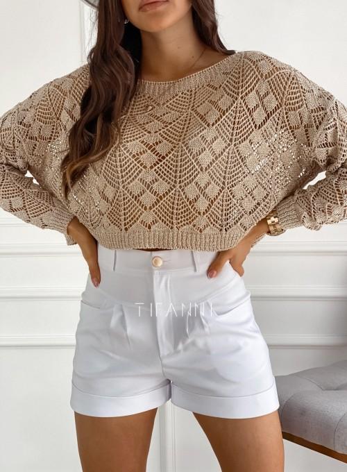 Złoty ażurkowy sweter Tiara 1