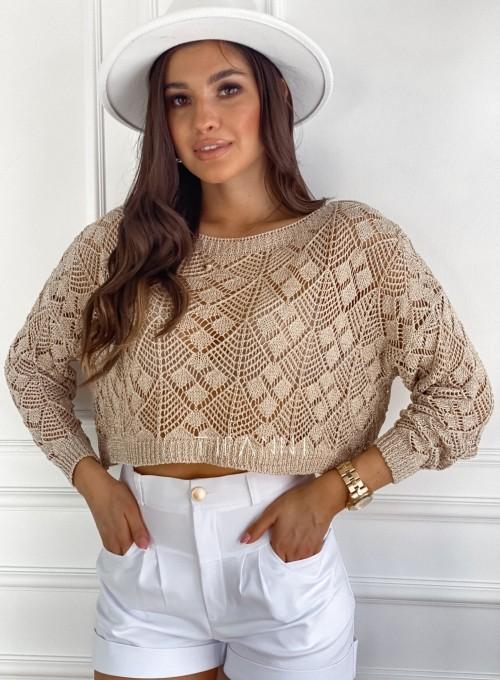 Złoty ażurkowy sweter Tiara 5