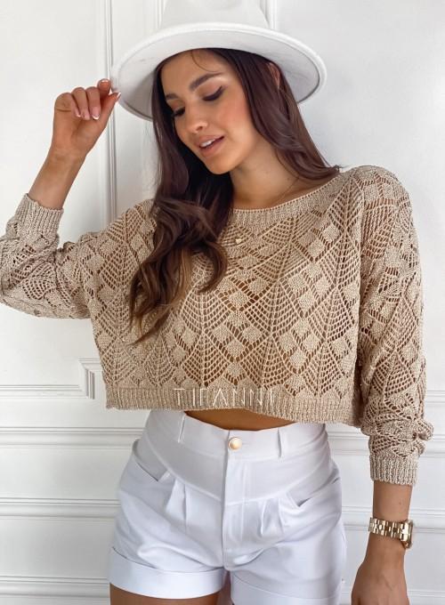 Złoty ażurkowy sweter Tiara 2