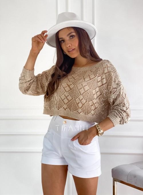 Złoty ażurkowy sweter Tiara 6