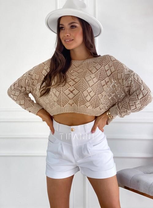 Złoty ażurkowy sweter Tiara 3