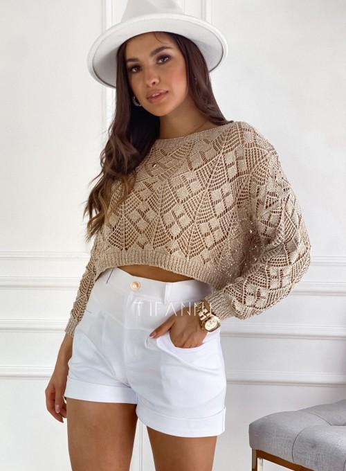 Złoty ażurkowy sweter Tiara 7