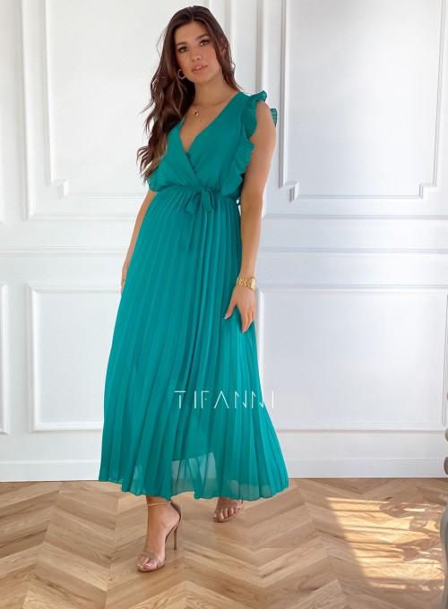 Długa plisowana sukienka Debra butelkowa 2
