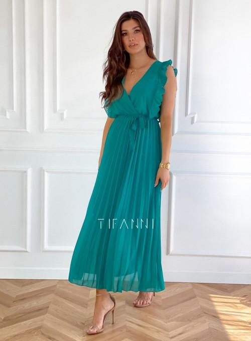 Długa plisowana sukienka Debra butelkowa 4