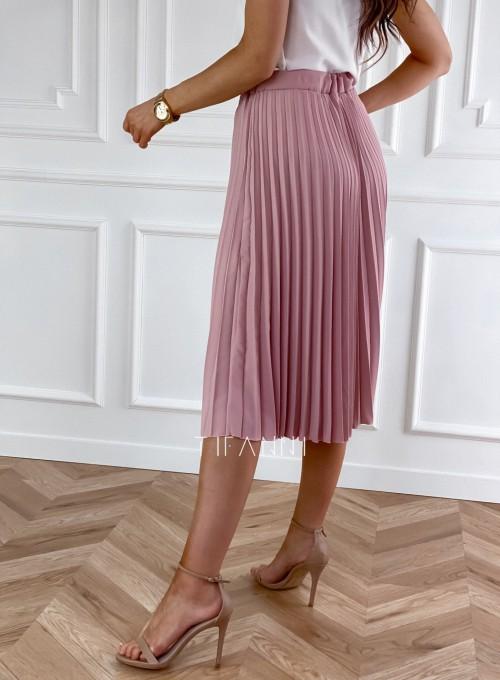 Plisowana elegancka spódnica Casi pudrowa 2