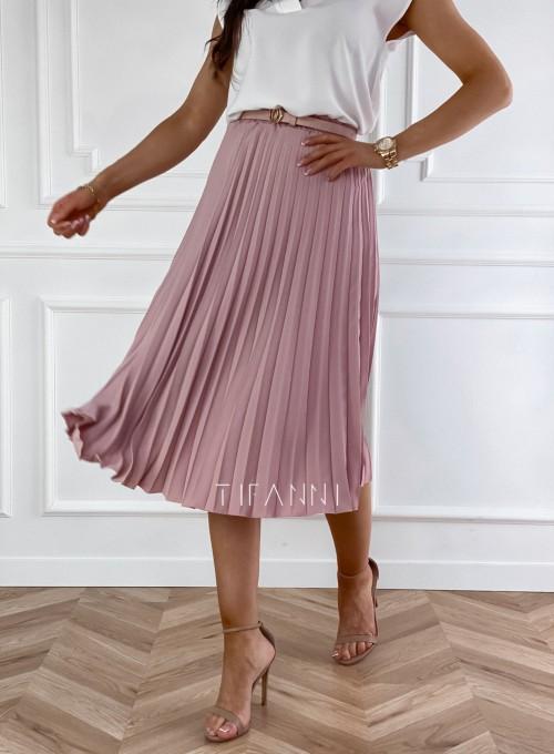 Plisowana elegancka spódnica Casi pudrowa 3