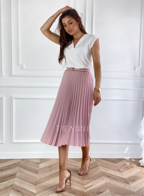 Plisowana elegancka spódnica Casi pudrowa 4