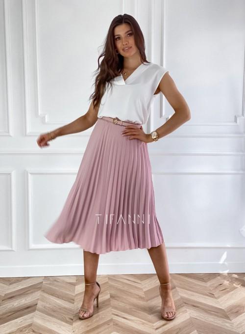 Plisowana elegancka spódnica Casi pudrowa 1