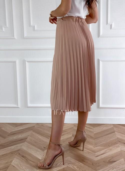 Plisowana elegancka spódnica Casi karmelowa 2