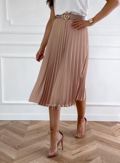 Plisowana elegancka spódnica Casi karmelowa 3