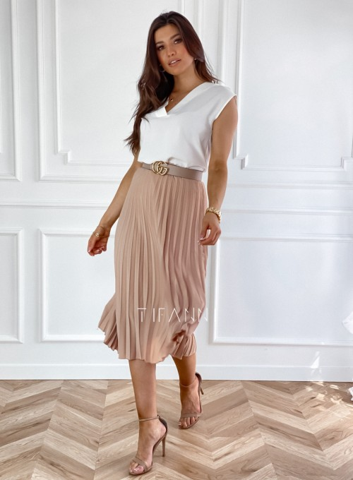 Plisowana elegancka spódnica Casi karmelowa 4