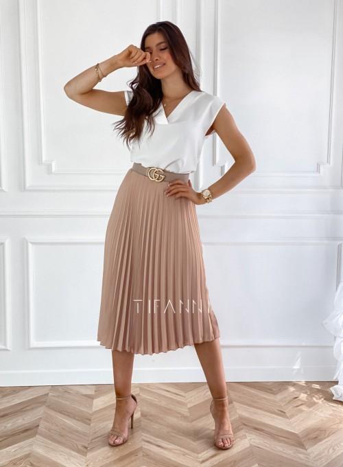 Plisowana elegancka spódnica Casi karmelowa 1
