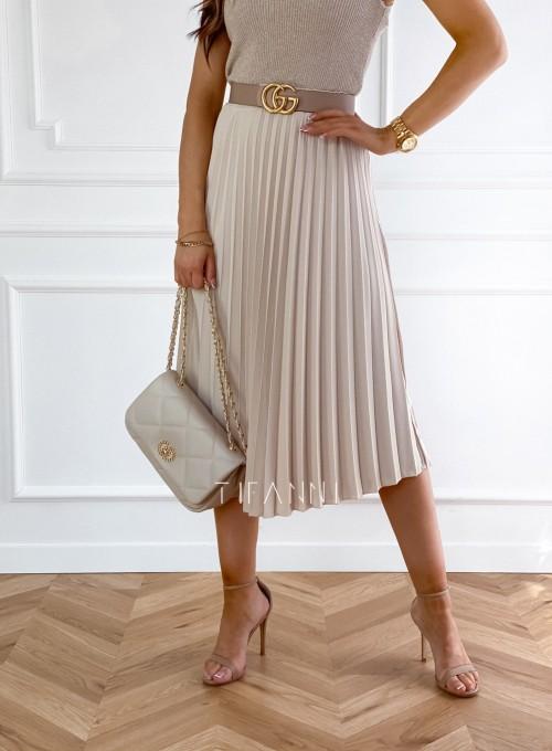 Plisowana elegancka spódnica Casi beżowa