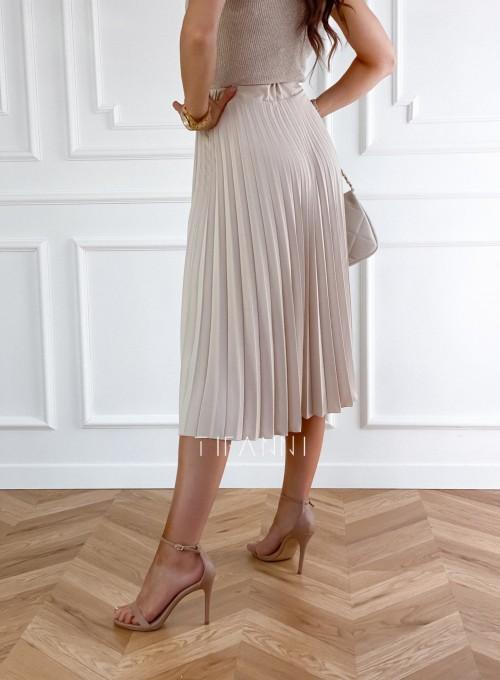 Plisowana elegancka spódnica Casi beżowa 2