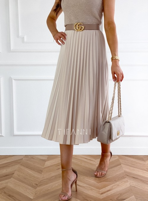 Plisowana elegancka spódnica Casi beżowa 3
