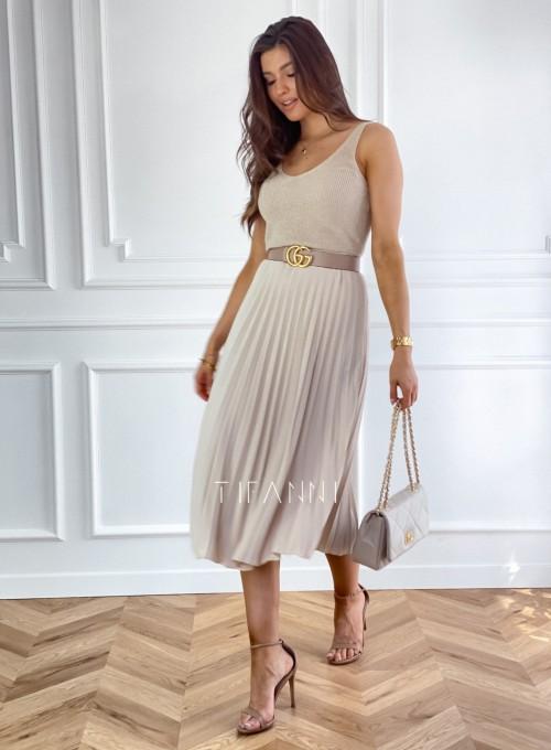 Plisowana elegancka spódnica Casi beżowa 4