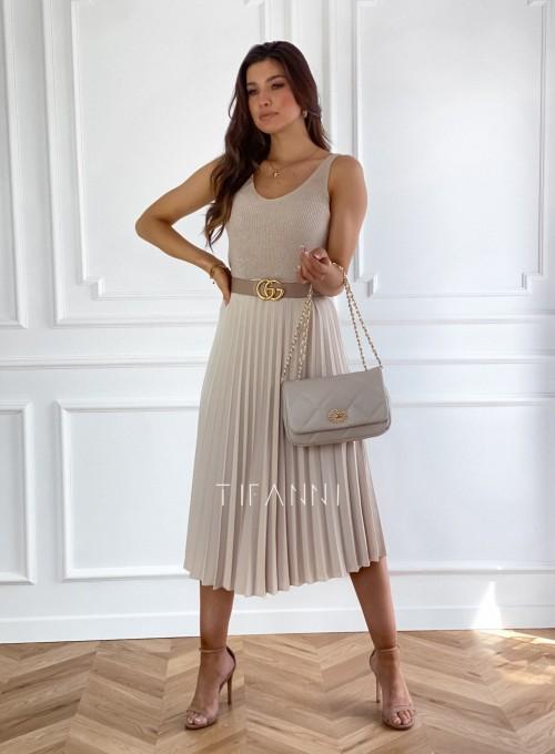 Plisowana elegancka spódnica Casi beżowa 1