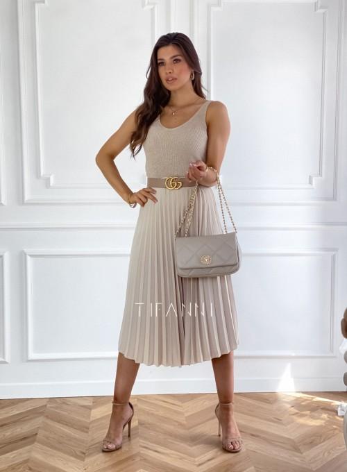 Plisowana elegancka spódnica Casi beżowa 5