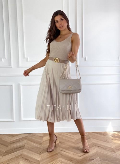 Plisowana elegancka spódnica Casi beżowa 6