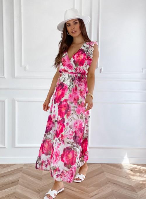 Długa plisowana sukienka Debra w różowe kwiatki 3
