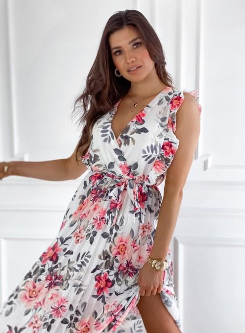 Długa plisowana sukienka Debra kwiatki II 1