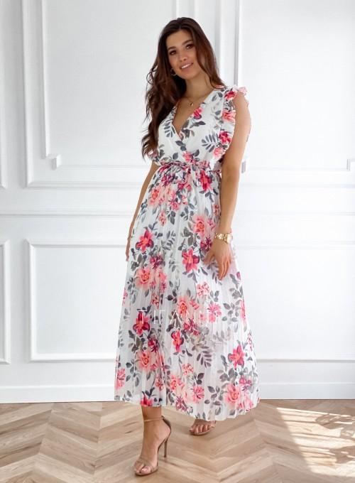 Długa plisowana sukienka Debra kwiatki II 5