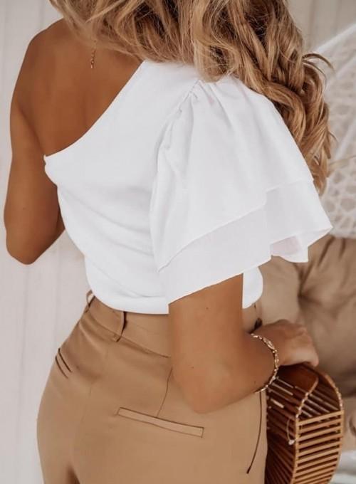 Bluzka na jedno ramie Klaris biała 2