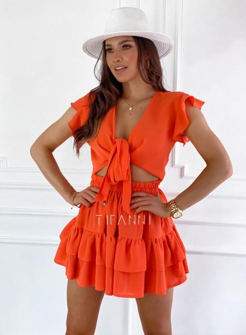 Komplet bluzka spódnica Ximi orange