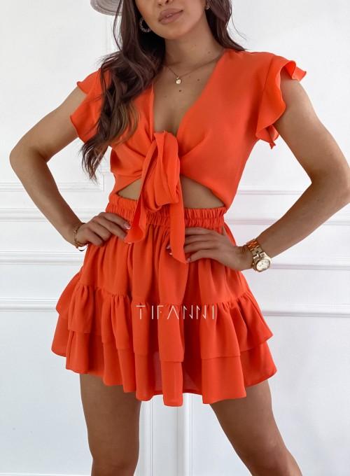 Komplet bluzka spódnica Ximi orange 1