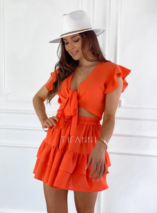 Komplet bluzka spódnica Ximi orange 4