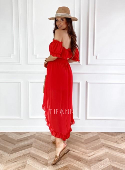 Komplet bluzka spódnica Flavi czerwony 2