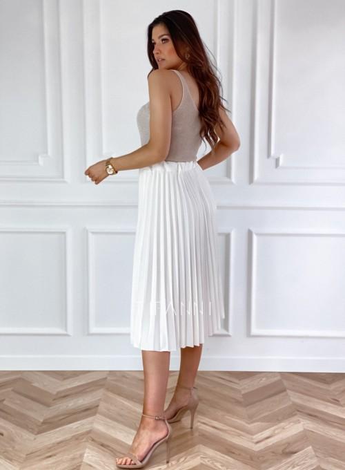 Plisowana elegancka spódnica Casi śmietankowa 1