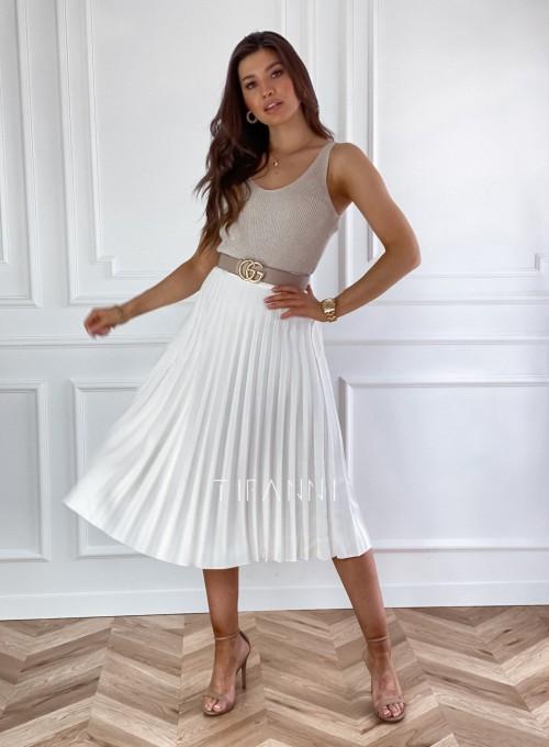Plisowana elegancka spódnica Casi śmietankowa 3