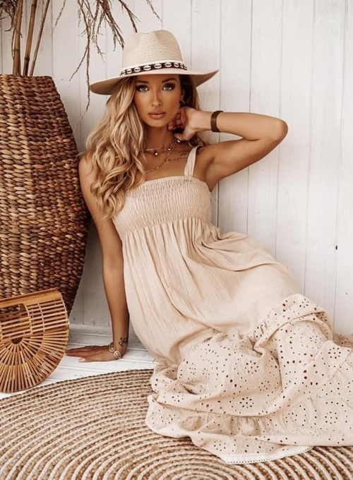Bawełniana sukienka maxi Dina beżowa 1
