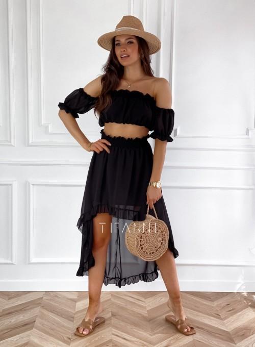 Komplet bluzka spódnica Flavi czarna 2