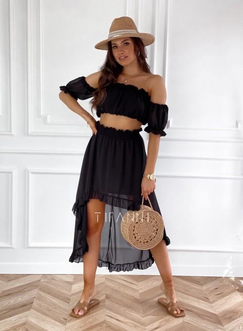 Komplet bluzka spódnica Flavi czarna 3