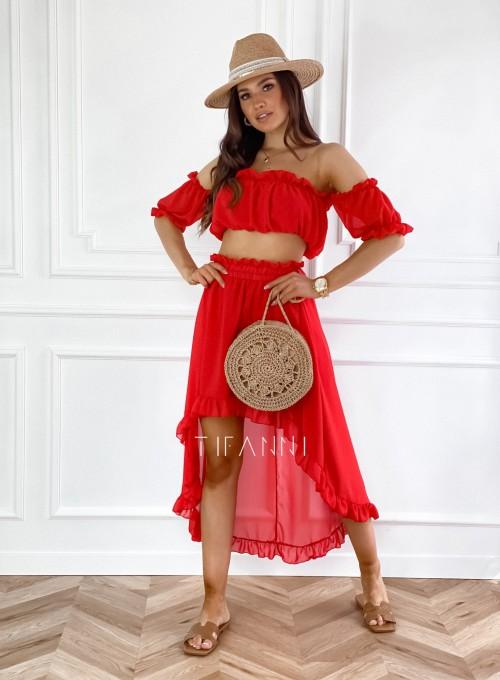 Komplet bluzka spódnica Flavi czerwony
