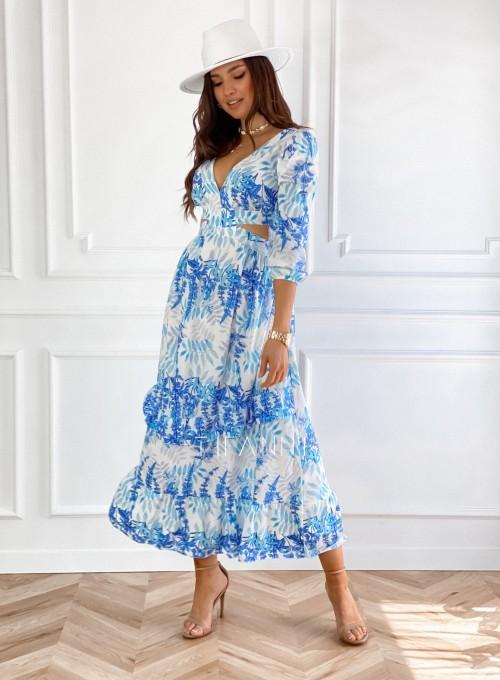 Długa sukienka z wycięciami w talii Blanco