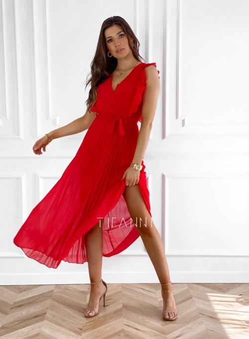 Długa plisowana sukienka Debra czerwona