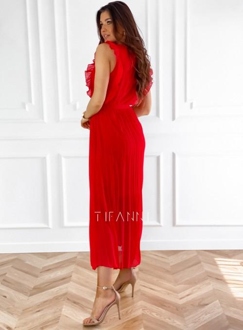 Długa plisowana sukienka Debra czerwona 3