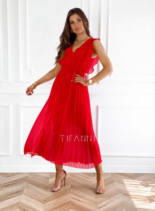 Długa plisowana sukienka Debra czerwona 4