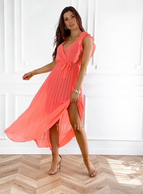 Długa plisowana sukienka Debra orange