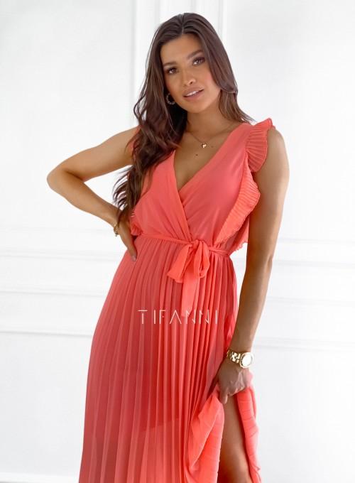 Długa plisowana sukienka Debra orange 1