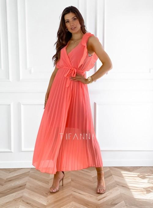 Długa plisowana sukienka Debra orange 2