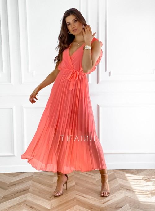 Długa plisowana sukienka Debra orange 3