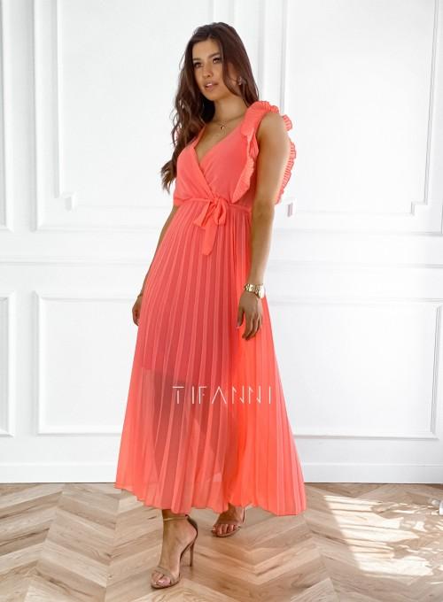 Długa plisowana sukienka Debra orange 4