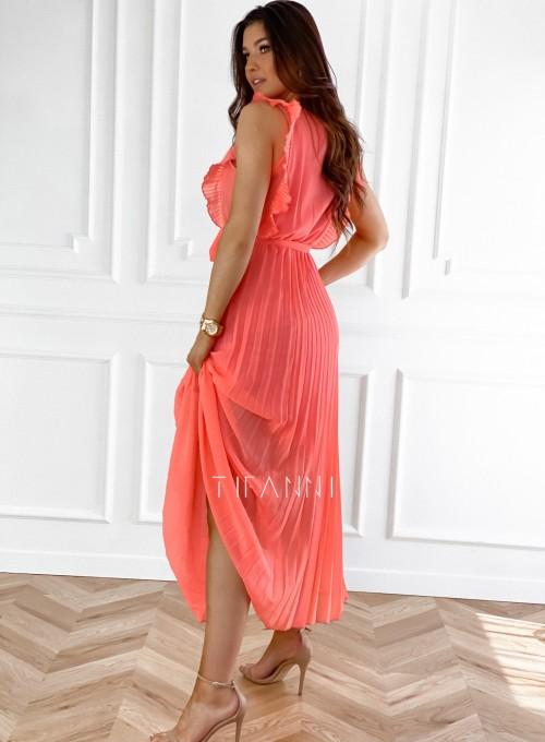 Długa plisowana sukienka Debra orange 5