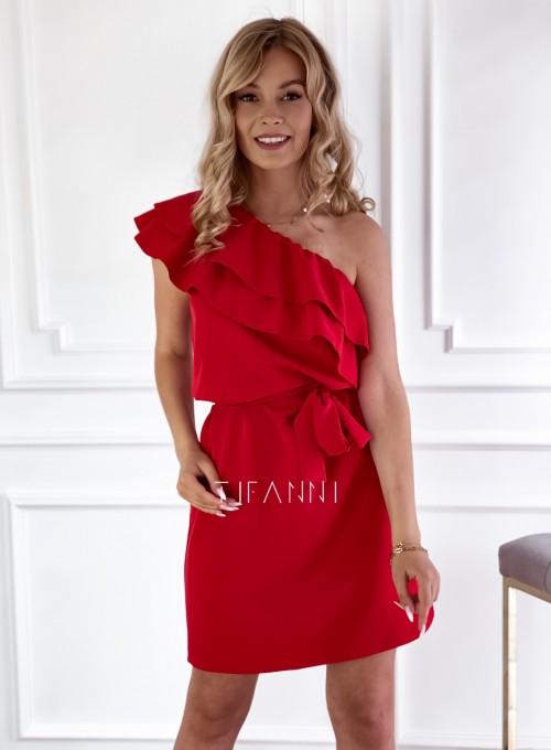 Sukienka na jedno ramię Kayra czerwona
