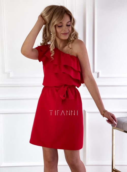 Sukienka na jedno ramię Kayra czerwona 3