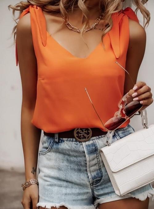 Bluzka wiązana na ramiączkach Bali orange